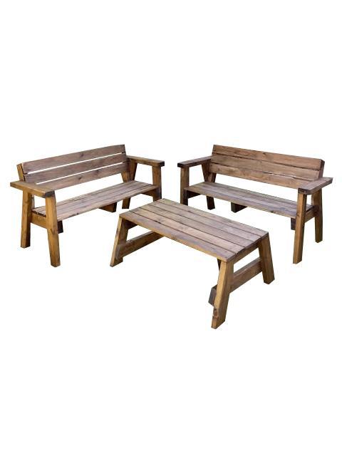 פינת ישיבה עץ - השכרת ציוד לאירועים